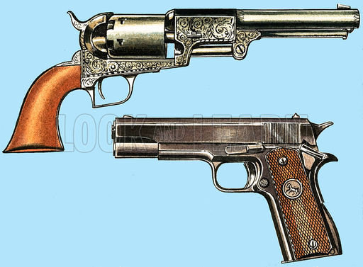 Colt revolvers, picture, image, illustration