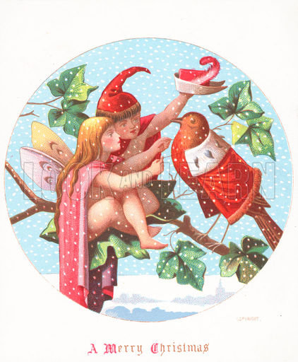 angel and elf dressing robin, Christmas card, Xmas, snow