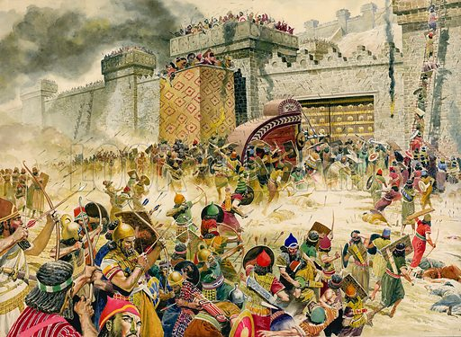 Capture of Samaria, capital of the Kingdom of Israel, by the Assyrians under King Sargon II, c721 BC Original artwork for illustration that appeared on pp12–13 of Look and Learn issue no 10 (9 May 1964) of The Bible Story.