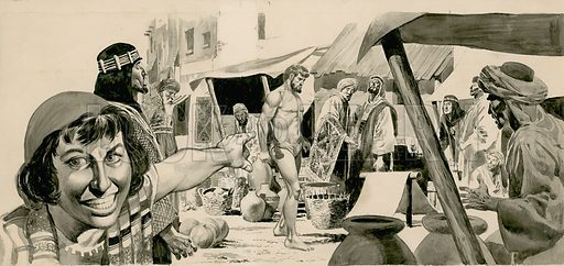 Original artwork for illustration that appeared on p8 of issue no 9  (2 May 1964) of The Bible Story, depicting Isaiah walking naked in the streets of Jerusalem.