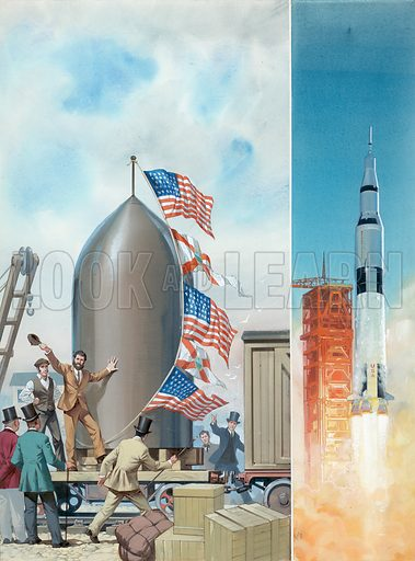 """Original artwork used for cover of issue 1002 (23 May 1981) of Look and Learn, where the title was added """"A Hundred Journeys into Space"""". This showed the difference between Jules Verne's science fiction and modern reality."""