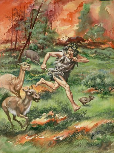 Stone Age man and prehistoric animals fleeing a wildfire.