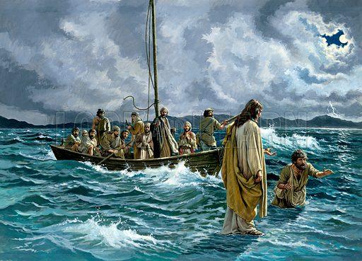 Jesus Christ walking on water on the Sea of Galilee.