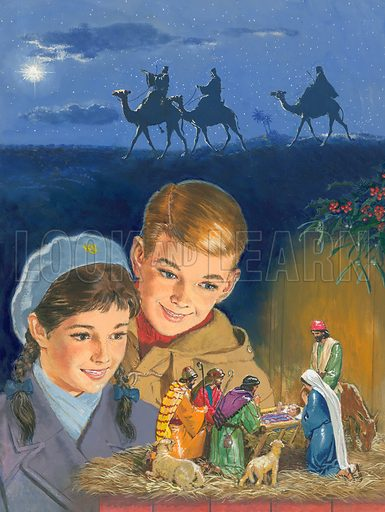 At last the model of the Nativity scene is finished. Now, as the children admire it, they are reminded of how Three Wise Men searched for the Holy Child, and how shepherds followed the star towards Bethlehem, so that they could celebrate Jesus' birthday and take Him gifts. Cover illustration for Look and Learn issue no 49 (22 December 1962).