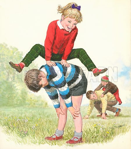 """Original artwork for cover to Treasure issue no 13 (13 April 1964) to illustrate """"j"""" for jumping."""