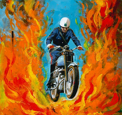 Dare devil soldier rides through flames.  Illustration used for the cover of Treasure magazine no 407 (31 October 1970).  Artwork loaned to Look and Learn for scanning by The Gallery of Illustration.