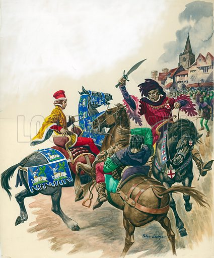 Mayor of London attacks Wat Tyler. Original illustration that appeared on p17 of Treasure issue no 62.