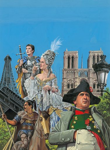 The Story of Paris.  Original artwork for cover to Look and Learn Issue no 995 (4 April 1981).