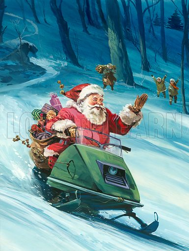 Twentieth Century Santa Claus, delivering Christmas presents on a snowmobile. Original artwork for cover of Look and Learn issue no 728 (27 December 1975).