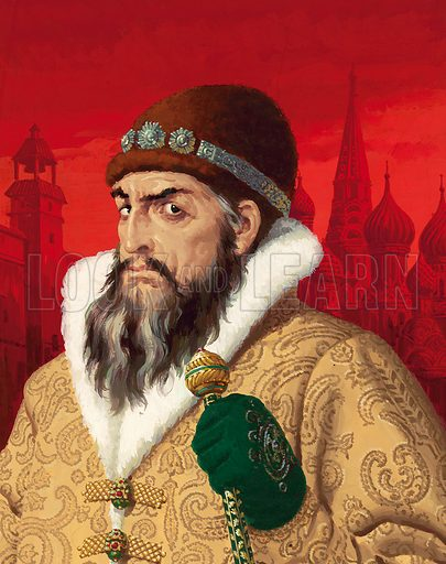 Ivan IV, known as Ivan the Terrible (1530–1584), Tsar of Russia. Original artwork for cover of Look and Learn (late 1970s).