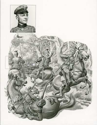 """Lieutenant Manfred von Richtofen of the 1st Regiment of Uhlans managed to lead his surviving lancers to safety. Within a few months, he left the Uhlans and became an airman, though few became as famous as Richtofen, """"The Red Baron"""", Germany's highest scoring fighter ace. This illustration appeared on p12 of Look and Learn issue no 690 (5 April 1975)."""