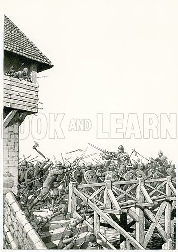 "William of Normandy (""the Conqueror"") sent his advance troops hurrying to the Thames, but they were at first beaten back at London Bridge by the capital's determined defenders.  Original artwork for illustration on p19 of Look and Learn issue 762 (21 August 1976)."