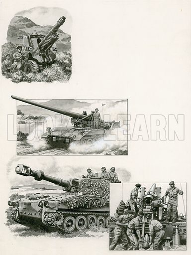 "Illustrations of various guns.  From top to bottom: The British Army's italian designed 105 mm infantry howitzer in the early 1970s, which fires shells at a high angle; below and bottom right, the 175 mm self-propelled gun, the heaviest used by Britain in the early 1970s; bottom, British 155 mm self-propelled howitzer, a very effective ""tank killer"" and artillery support weapon.  Original artwork for illustrations that appeared on p26 of Look and Learn issue no 543 (10 June 1972)."