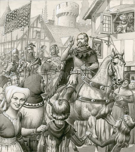 Edward III.  The English people roared their applause at all Edward's magnificent victories, and thousands came out into the streets to watch his triumphant homecomings.  Original artwork used for illustration on p5 of Look and Learn issue no 509 (16 October 1971).