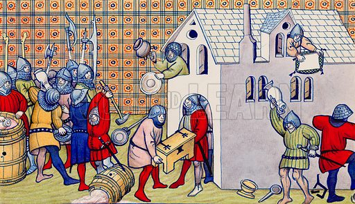 Troops looting during the Hundred Years War, derived from a 14th century manuscript in the British Museum.
