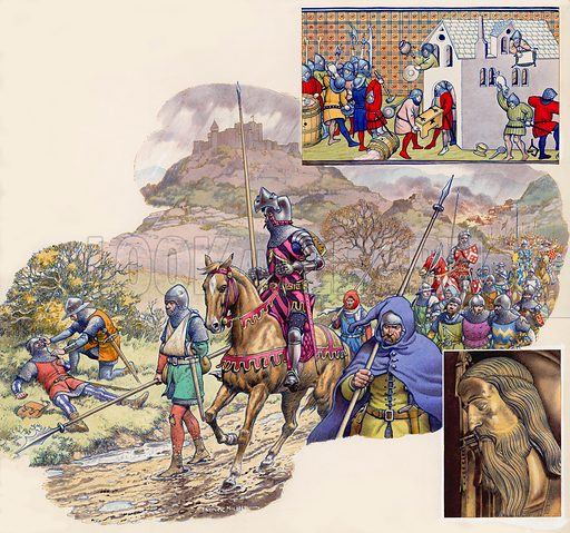 The Hundred Years War. Top right: derived from a 14th century manuscript in the British Museum, this illustration shows troops busy looting. Main illustration: John of Gaunt's men tried without success to bring the French to battle, but they stayed put in the castles and watched while their countryside was ravaged. Bottom right: Portrait of Edward III derived from his tomb portrait in Westminster Abbey. Original artwork for illustrations that appeared on pp20–21 of Look and Learn issue no 496 (17 July 1971).