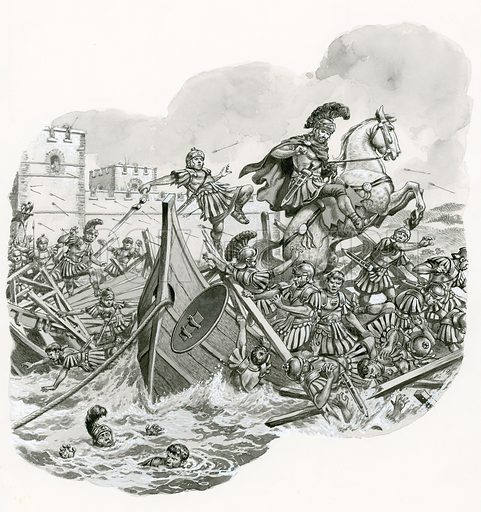 Original artwork used for illustration on p12 of Look and Learn issue 687 (15 March 1975).  Illustration shows a final battle at the Milvian Bridge near Rome in AD 312 which did nothing to restore the battered reputation of the Praetorians.