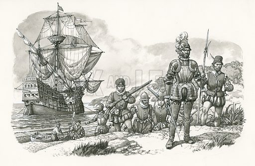 Original artwork for illustration of first Europeans arriving in California that appeared on p22 of Look and Learn issue no 486 (8 May 1971). The first Europeans to set foot in what is now California in 1542 were Spaniards, though it was many years before Spain colonised the area. Sir Francis Drake arrived off California in 1579 on his voyage round the world and claimed it for England.