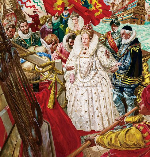Queen Elizabeth I.  Original artwork used for illustration on cover of Look and Learn issue 379 (16 April 1969).