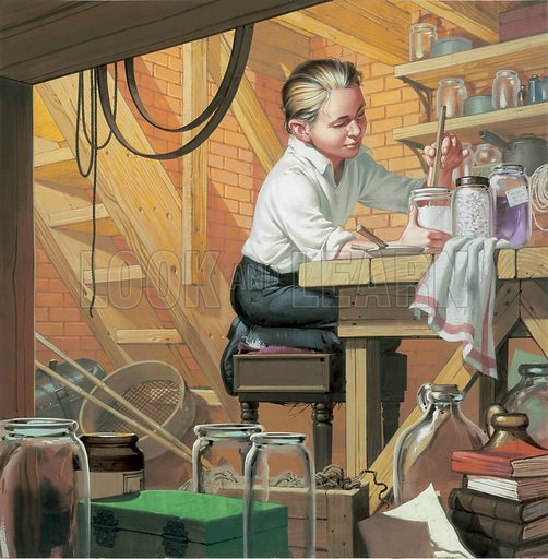 "A cover from the series ""When they were young"" in which the reader was asked to identify a famous historical person portrayed in their youth.  This inquisitive boy is the famous American inventor, Thomas Alva Edison.  Born in 1847 he was largely self-educated, setting up a laboratory in the cellar of his parents' home while still a young lad.  He is best remembered for that most pleasure-giving of inventions, the phonograph (1877).  Original artwork."