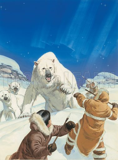 "Polar Bear and Eskimoes.  Cover illustration for article in the series ""Wild Life in Danger"" entitled ""From the Arctic to the Andes ... where the bear fights to survive"" which appeared in Look and Learn issue no 434 (9 May 1970)."