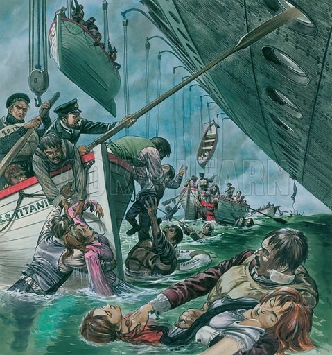 Launching lifeboats from the sinking liner Titanic after it struck the iceberg, 1912. Original artwork for illustration that appeared in Look and Learn issue no 65 (13 April 1963).