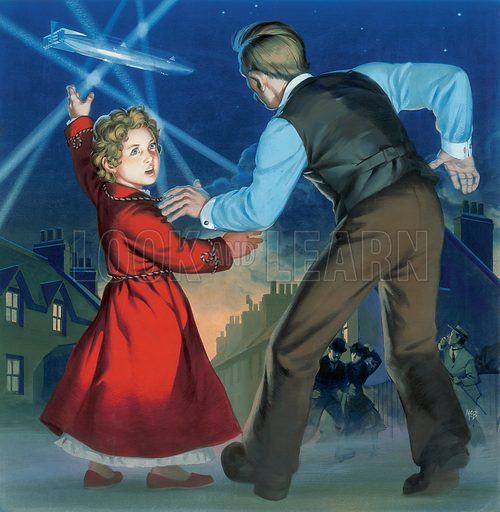 Air-Raid 1914–1918. Atmospheric depiction of an air-raid during the Great War. The terrified figure of the little girl and her father is vividly imagined. Original artwork for an illustration that appeared in a Look and Learn annual, circa 1970.