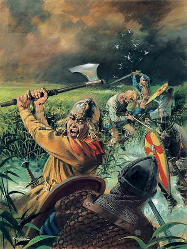 Hereward the Wake.  Various skirmishes occurred between the Normans and Hereward's band of rebels, before Morcar and many of the newly-joined rebels surrendered, leaving Hereward and a few others to flee deep into the Fens.  Original artwork for illustration on p10 Look and Learn issue no 939 (19 January 1980).