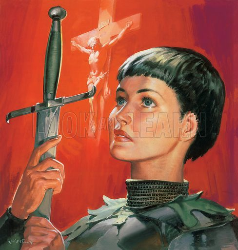 "Joan of Arc (c1412–1431), French heroine of the Hundred Years War. Cover illustration for issue of ""The Bible Story"". Original artwork."