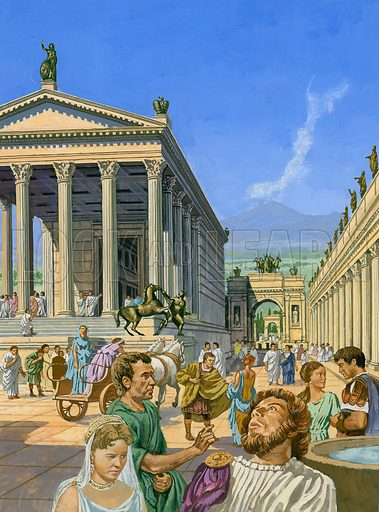 More than 2000 years ago, the city of Pompei was engulfed by a sea of volcanic ash.  Pompei was an elegant city.  One of its finest buildings was a temple (depicted here) built in honour of the god Jupiter.  Original artwork for illustration that appeared on p19 of Look and Learn issue no 845 (25 March 1978).