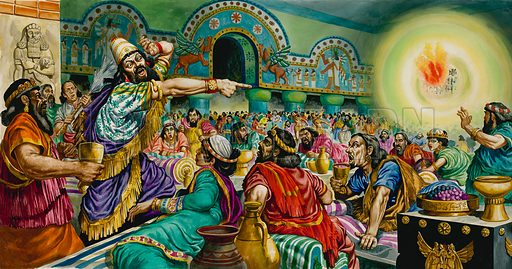 Belshazzar's Feast.  Original artwork for illustration on pp12-13 of The Bible Story issue no 18 (4 July 1964).