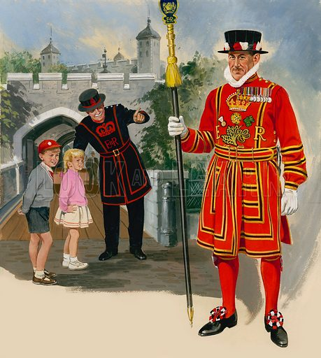Yeoman Warder and Yeoman of the Guard. Original artwork for cover of Treasure issue no 25.