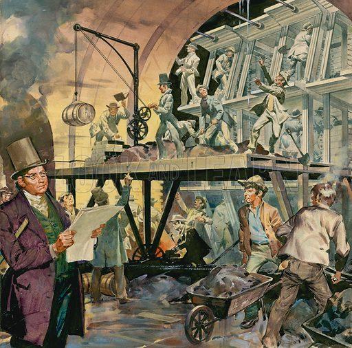 Brunel supervising tunnel construction. Original artwork.