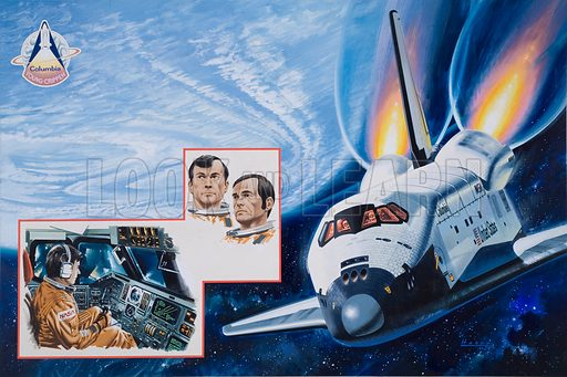 Make-or-Break Space Mission. Article, in Look and Learn issue no 979 (13 December 1980), about the maiden flight of the American space shuttle due to take place in 1981. The illustrations show the space shuttle, along with pictures of the commander, John W Young, and pilot, Robert L Crippen, and an illustration of Young carrying out a simulated landing. Original artwork.