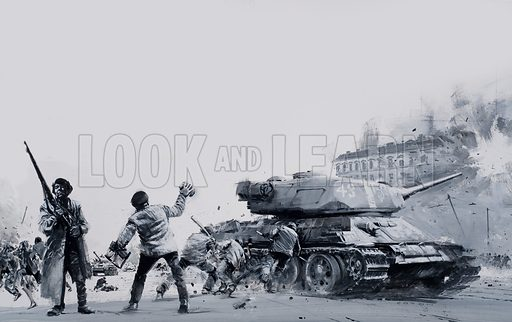 Hungarian Uprising.  In 1956 the Hungarian people rose up against the harsh rule of their communist government.  For a while it looked as though victory was within their grasp, but then the Soviet tanks and troops rolled into Budapest and the heroic but futile street fighting began.  Original artwork for illustration on pp20-21 of Look and Learn issue no 597 (23 June 1973).