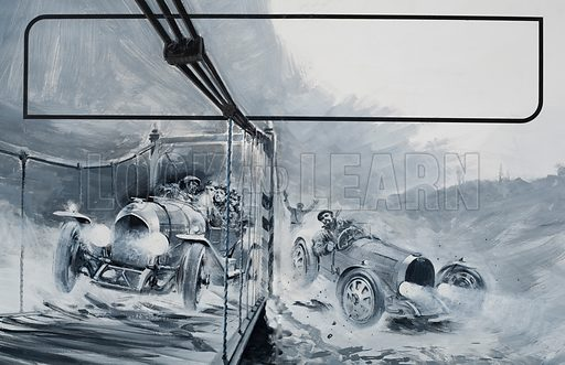 Bentley.  Count Antonio da Costa Cabral, accompanied by Leslie Pennal, W O Bentley's chief engineer, roared over the swaying, mountain bridge forcing the Bugatti off the road and turning the bridhe into a shambles of displaced planks with the guards surveying the result in anguished dismay.  Original artwork for illustration on pp20-21 of Look and Learn issue no 566 (18 November 1972).