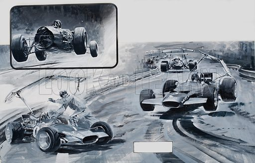 Grand Prix Problems.  Every car, no matter how skilfully it is designed or how expensive it may be, has its breaking point at which its components fail under the stress of speed.  One of the dangers of high speed racing is the car's tendency to fly like an aeroplane.  Graham Hill encountered this during practice runs for the German Grand Prix in 1966 (see top left).  Wings were attached to cars in 1969 to improve road handling, but the wing on Graham Hill's car collapsed in the 1969 Grand Prix, and he crashed.  Jochen Rindt, with a similar fault, struck Hill's car.  Original artwork.