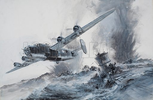 After the Sinking of the Laconia.  The U-Boat has some survivors on board and was towing others in lifeboats when the bomber came in to attack.  Original artwork for illustration on pp8-9 of Look and Learn issue no 505 (18 September 1971).