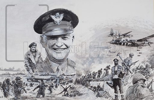 The Supreme Commander who had never seen action.  The world called him Ike, but his real name was Dwight D. Eisenhower.  He had a genius for getting Americans and British working together, and he was in command when the Allies invaded Europe on that day of days - D-Day.  Original artwork for illustration on pp28-29 of Look and Learn issue no 518 (18 December 1971).
