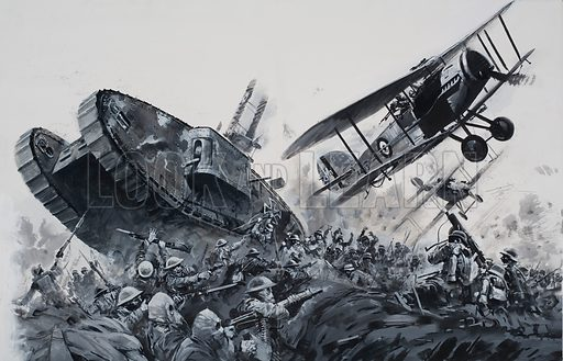 1918.  After the guns had rained an inferno of shells upon the British artillery and the trenches, the Germans, led by General Erich von Ludendorff, attacked in waves and the British outposts collapsed under the dreadful onslaught.  Original artwork for illustration on pp6-7 of Look and Learn issue no 666 (19 October 1974).