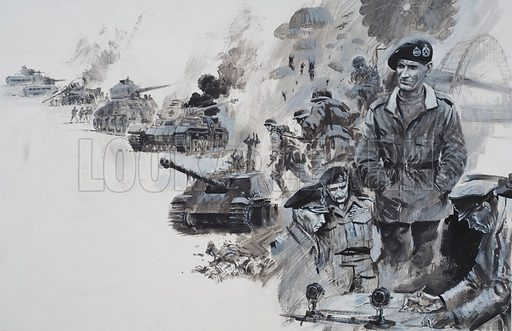 "Montgomery.  ""Stand and fight or lose our lives in the attempt.""  These were General Montgomery's orders to his troops in Egypt.  And his words inspired a magnificent victory.  Original artwork for illustration on pp28-29 of Look and Learn issue no 509 (16 October 1971)."
