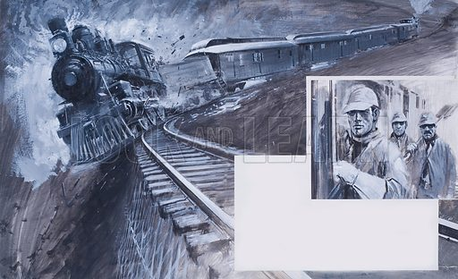 Racing Against Time. Joseph Broady and his crew boarded the train. Their efforts to make up lost time were to end in disaster and cost them their lives. Original artwork for illustration on pp118–19 of The Look and Learn Book 1982.
