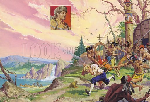 Paleface Pierre. To be caught by Indians usually meant death, but for Pierre Radisson it was an experience which served him well in his later life as an explorer. Adopted by the Mohawks, Pierre had to run the gauntlet of whips and thongs to prove his courage. Original artwork for illustration on pp8–9 of Look and Learn issue no 867 (26 August 1978).