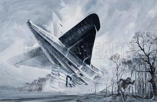 The R101.  The great British airship was the aviation dream that became a nightmare.  Yet, as enquiries showed after her fatal crash on her maiden flight to India, the whole enterprise had been botched from the beginning.  And, to make things worse, the crew on that fatal flight knew from the start that things were very wrong.  Original artwork for illustration on pp14-15 of Look and Learn issue no 525 (5 February 1972).