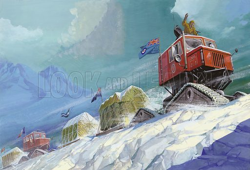 The Last Journey Left in the World.  Half-way through the 20th century one final challenge presented itself to explorers on Earth - the conquest of Antarctica by land.  Led by Dr Vivian Fuchs, the explorers had to probe ahead every few centimetres before the tracked vehicles could make their way across the frozen wasteland.  Original artwork for illustration on pp8-9 of Look and Learn issue no 875 (21 October 1978).