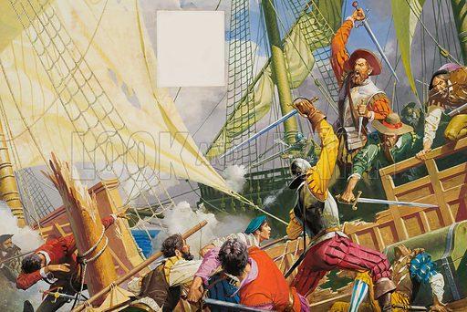 Giovanni di Verrazzano (1485–1528), Italian navigator who explored the coast of North America. Original artwork for Look and Learn (issue still to be identified).
