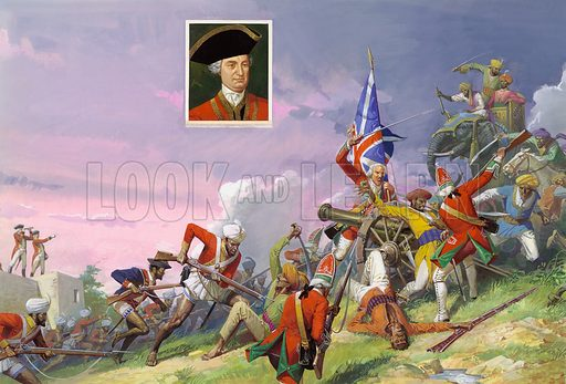The Battle of Plessey, June 1757.  This was Clive's most famous victory.  A combination of tactical brilliance and military efficiency - the British kept their powder dry during a cloudburst - assured Clive a place in the history books and the British a strong grip on India. Portrait of Robert Clive (1725-74).   Original artwork.