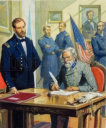 Union General Ulysses S Grant accepting the surrender of Confederate General Robert E Lee at Appomattox, Virginia, ending the American Civil War, 1865.