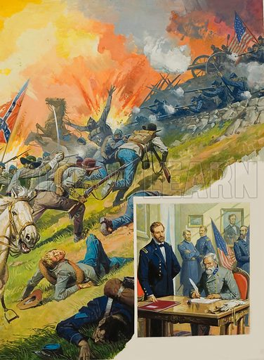 The Battle of Gettysburg. This was the turning point in the American Civil War. Victory gave the Federal army complete control of the Mississipi. Inset picture shows General Ulysses Grant accepting the surrender of General Lee at Appomattox.