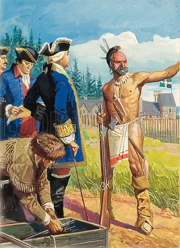 Louis Montcalm in discussions with American Indians.